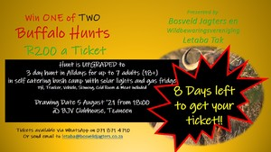 2 x Buffalo Hunts - Only 200 tickets at R200/ticket!